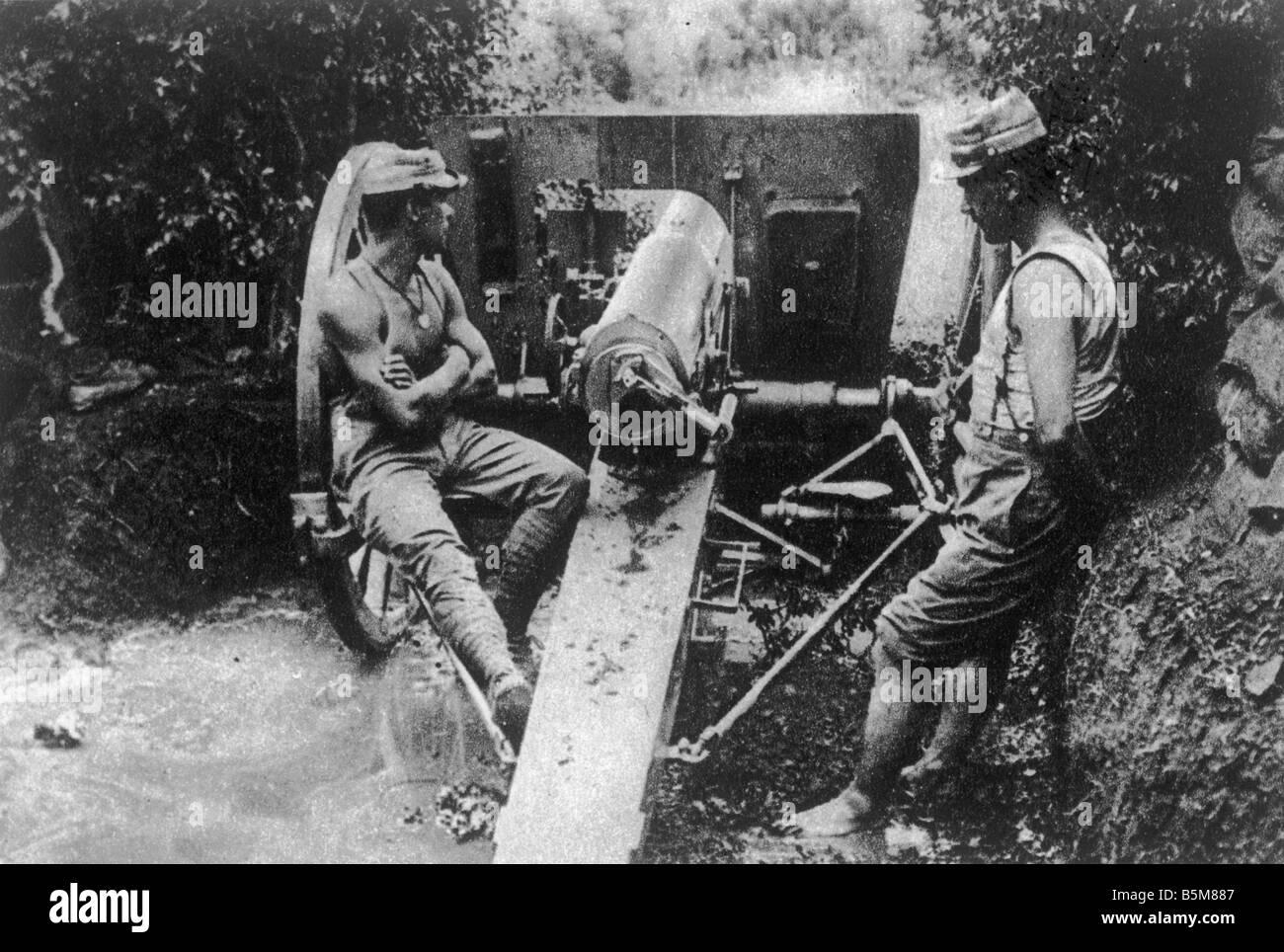 2 G55 B2 1916 14 canons de campagne française Histoire de la Première Guerre mondiale La Première Photo Stock