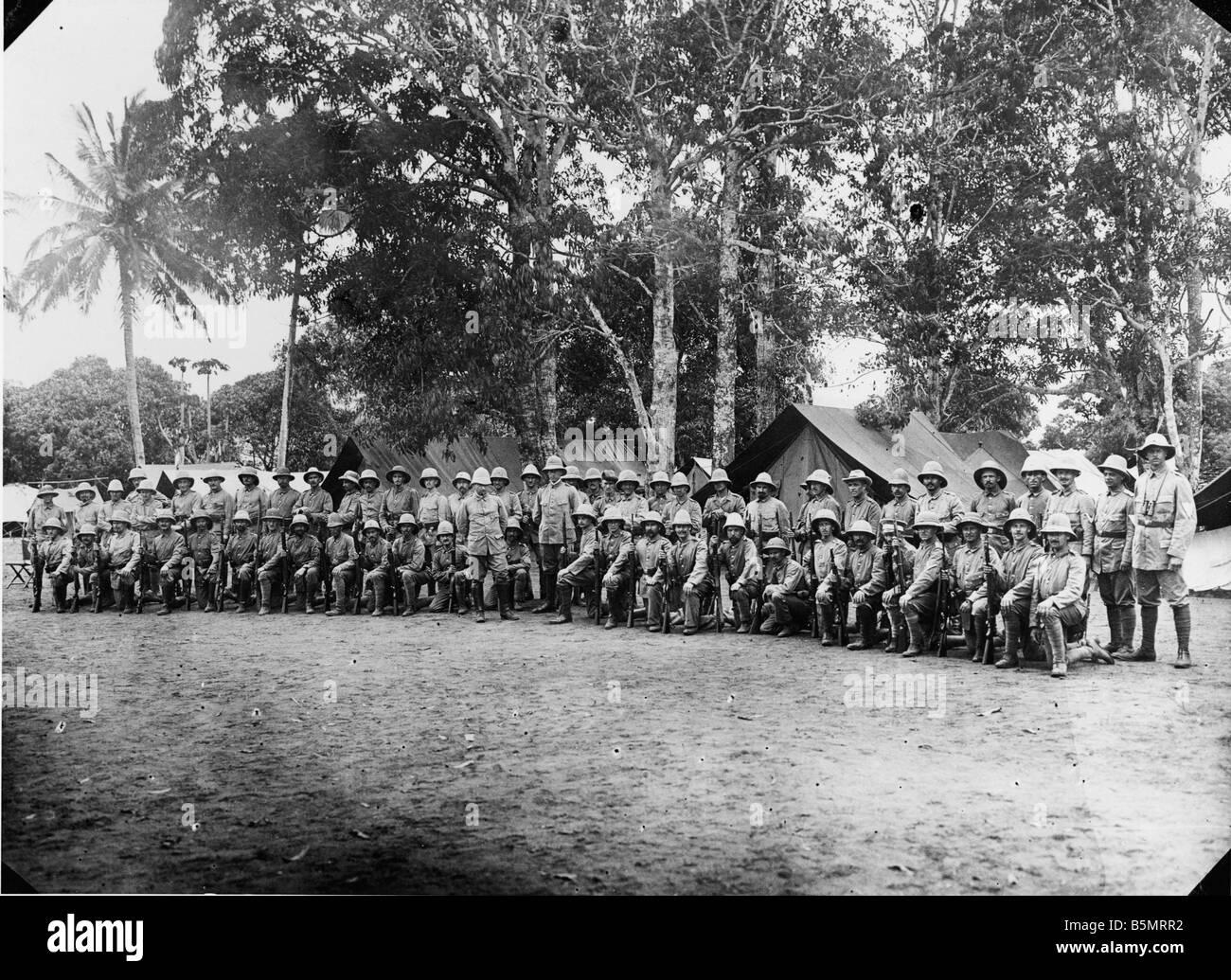 9AF 1914 A1 00 14 camp de l'armée coloniale de l'Afrique orientale allemande Première Guerre mondiale La guerre dans les colonies l'Afrique orientale allemande aujourd'hui la Tanzanie Germa Banque D'Images