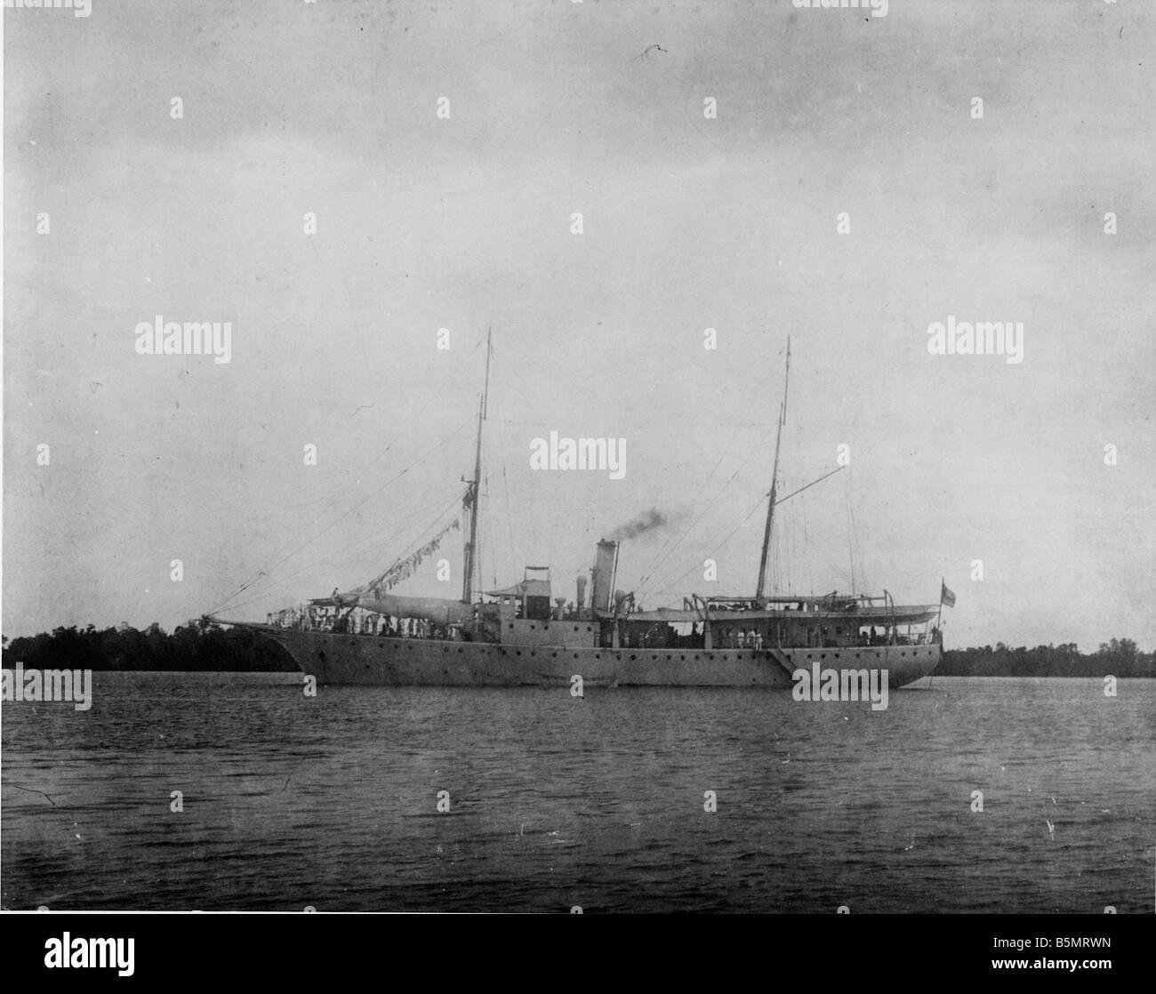 S M S Moewe Rufidji en Afrique orientale allemande Photo Tanzanie maintenant comme une colonie allemande 1884 1920 S M S Moewe Rufidji en 1914 Photo Banque D'Images