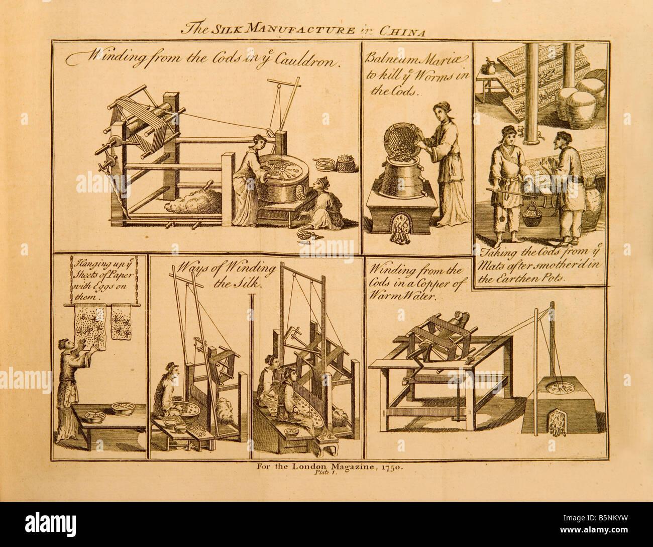 Une gravure de 1750 représentant la fabrication de la soie en Chine Photo Stock