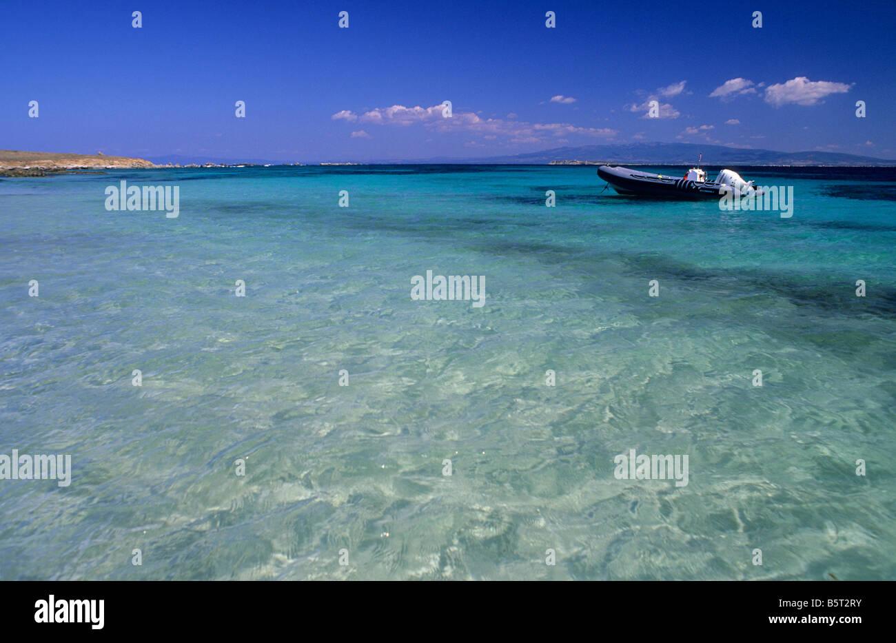 L'île de Mal di Ventre, presqu'île du Sinis, Sardaigne, Italie Photo Stock