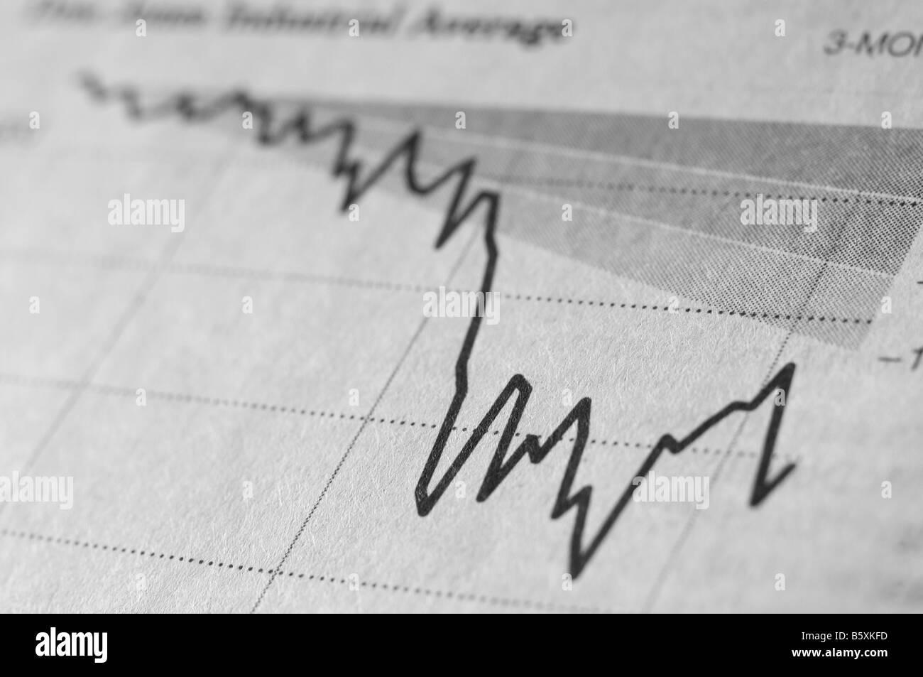 La section des affaires financières d'un journal. Photo Stock