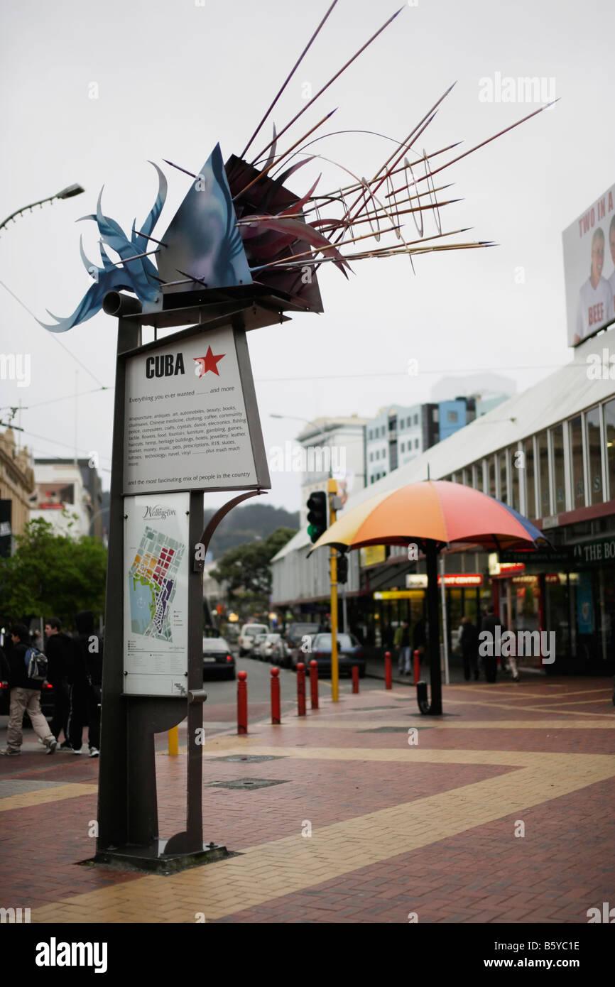 La sculpture moderne Cuba Mall Wellington New Zealand Banque D'Images