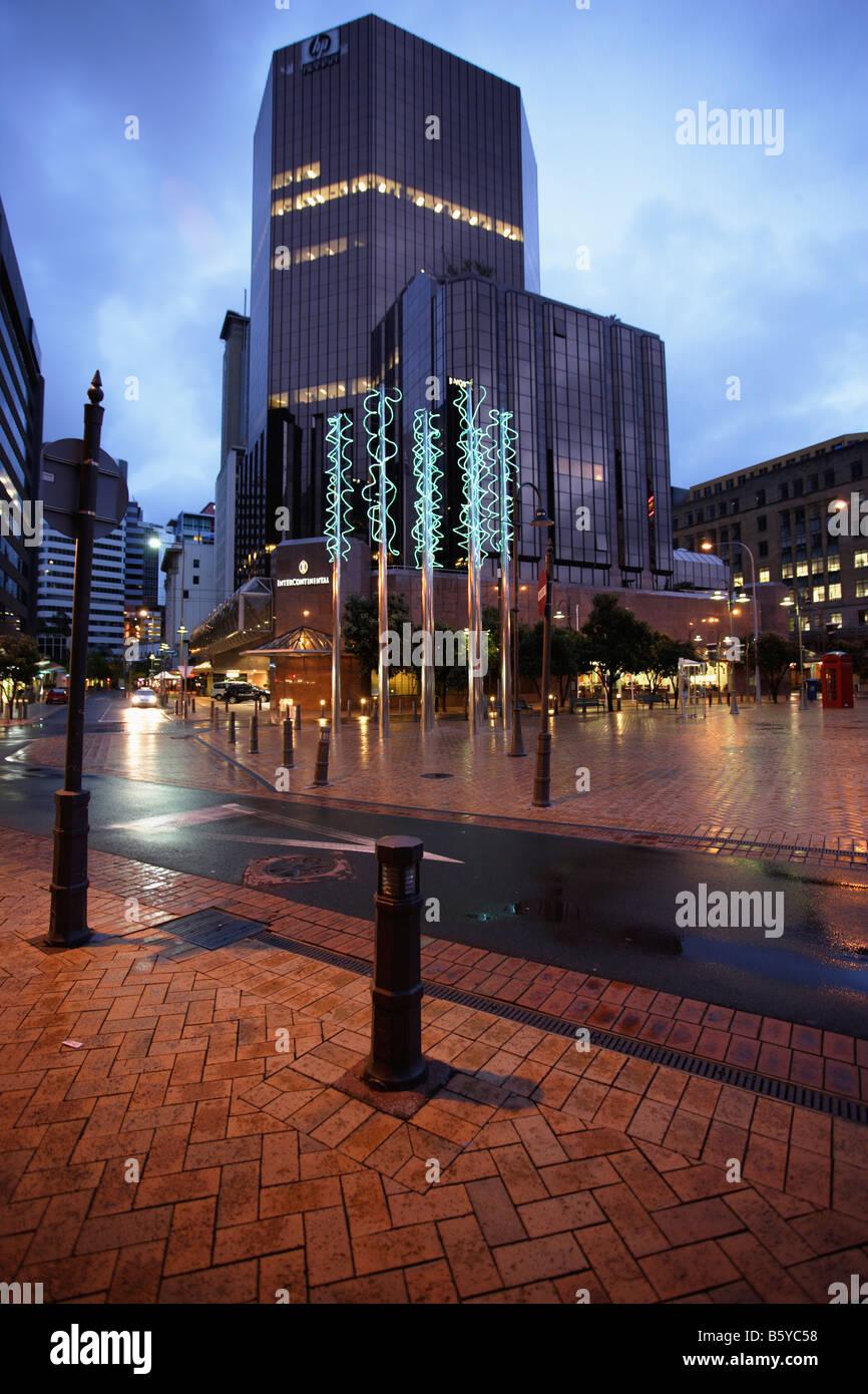 Douanes moderne Sculpture Néon Quay Wellington New Zealand Banque D'Images