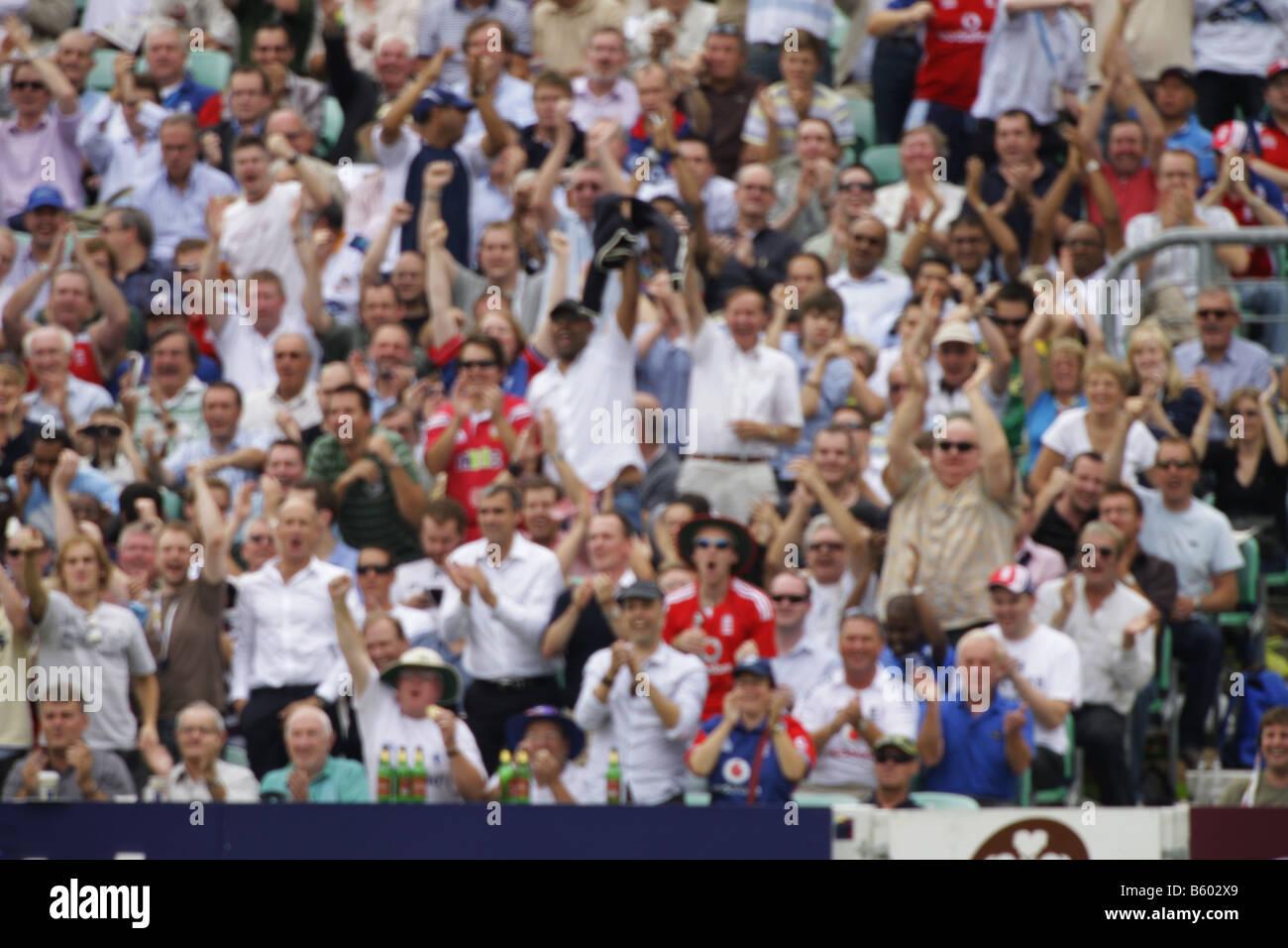 'Out of focus' sports fans de cricket supporters floue Photo Stock