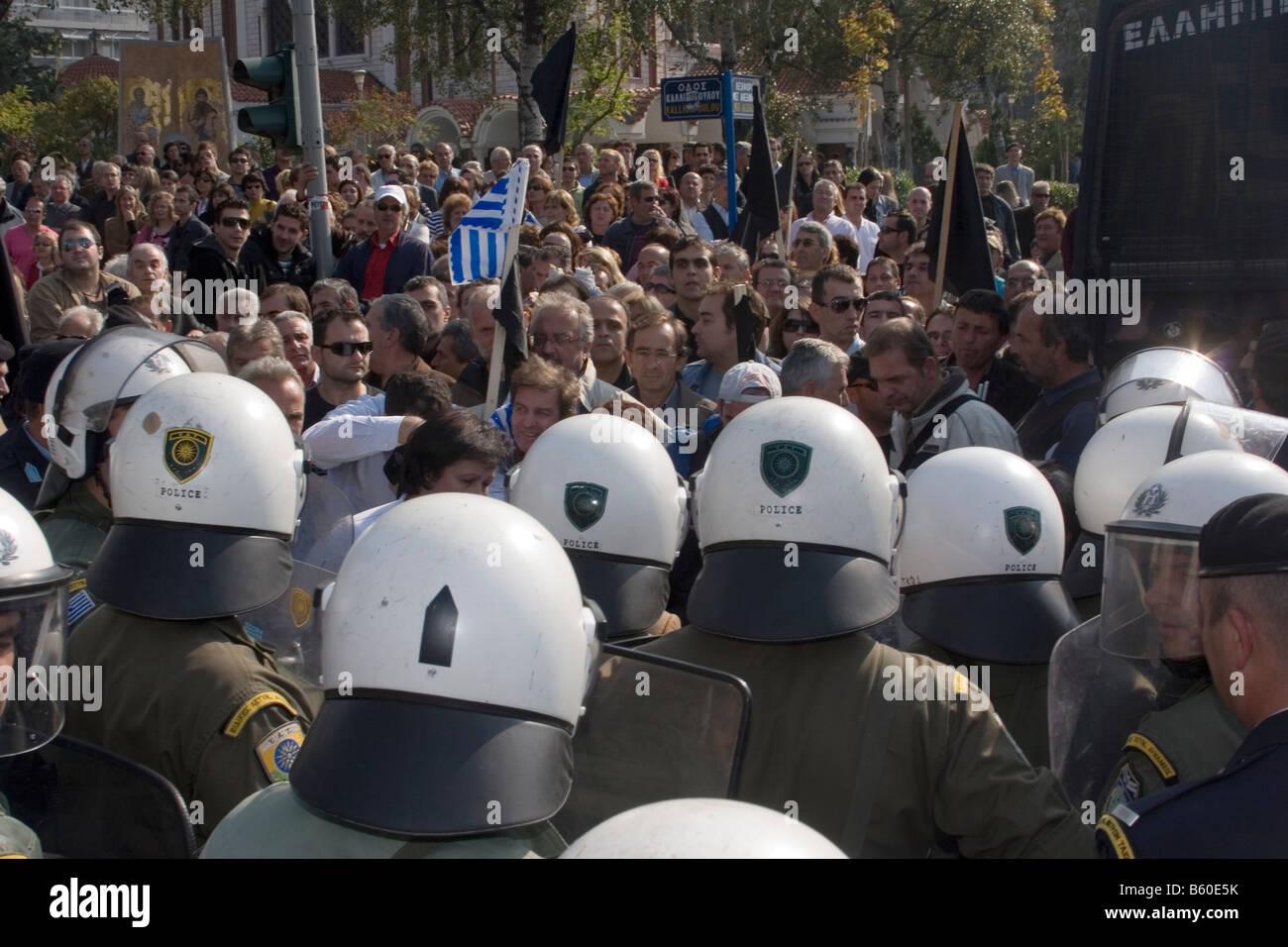 Les citoyens contre la police Photo Stock