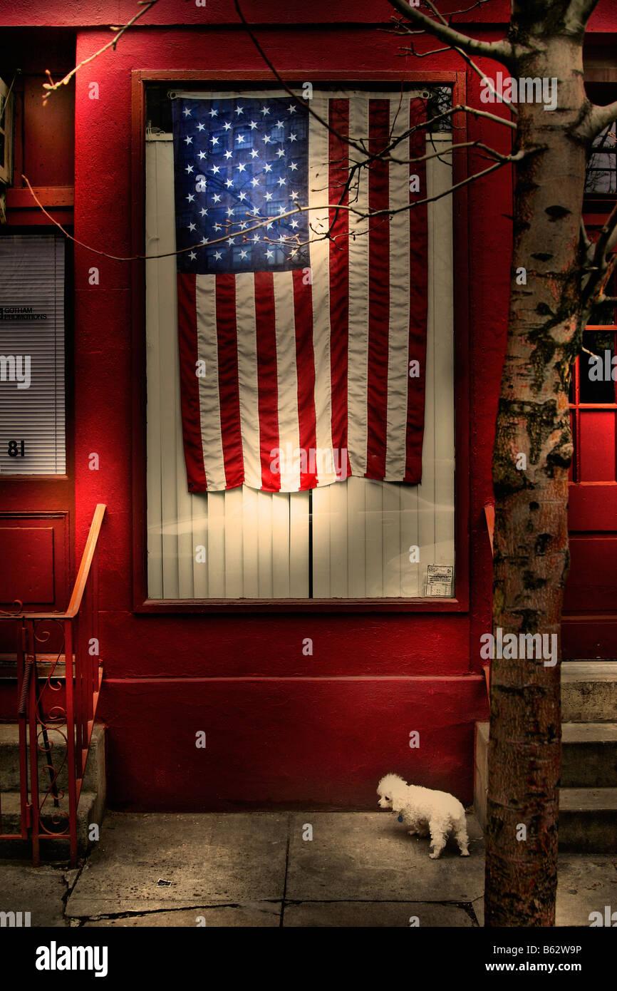 Drapeau américain sur une fenêtre Photo Stock