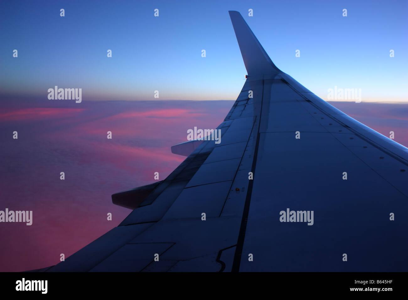 Une vue de l'air d'un coucher de soleil sur l'Australie Banque D'Images