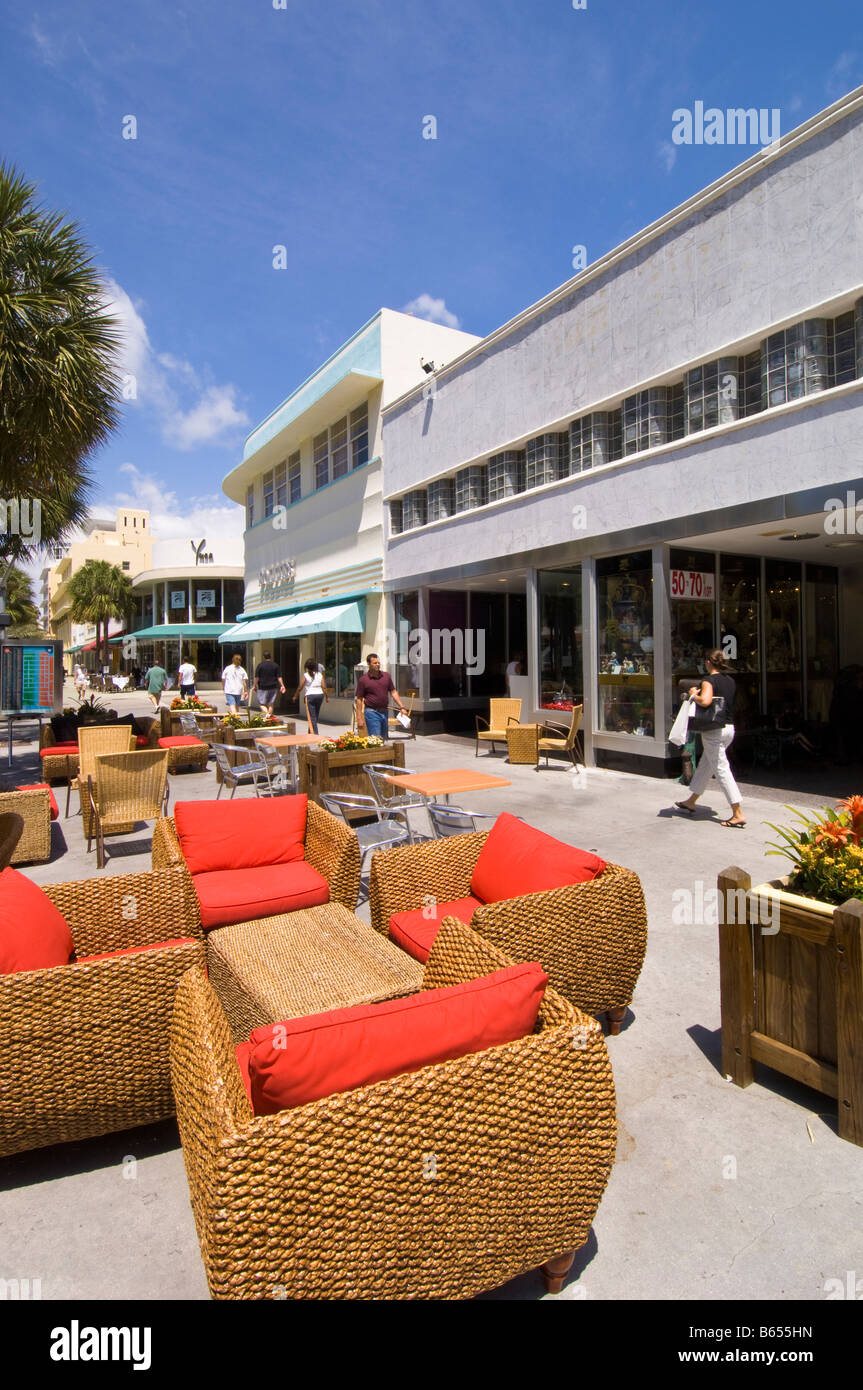 Boutiques et restaurants de Lincoln Road 'art Déco' 'South Beach' Miami Florida USA Photo Stock