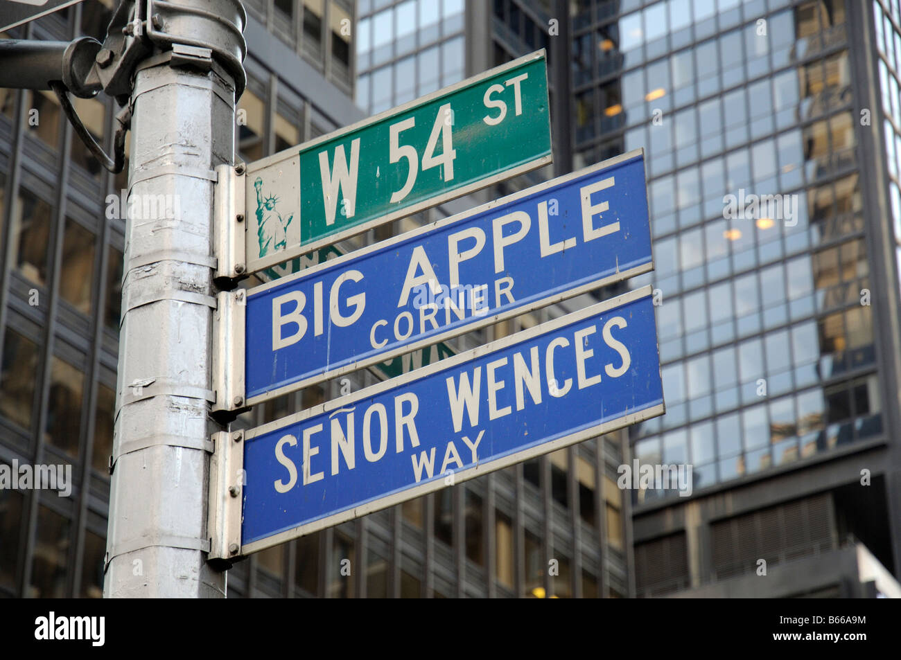 Big Apple roadsign Amérique New York USA Photo Stock