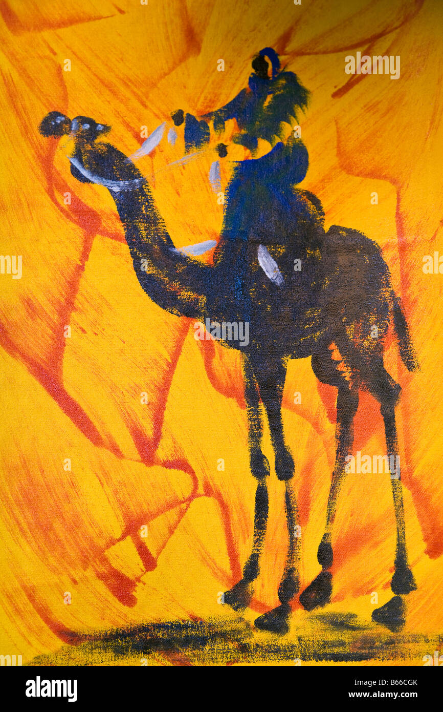 Affiche d'art colorées à Marrakech, Maroc Photo Stock