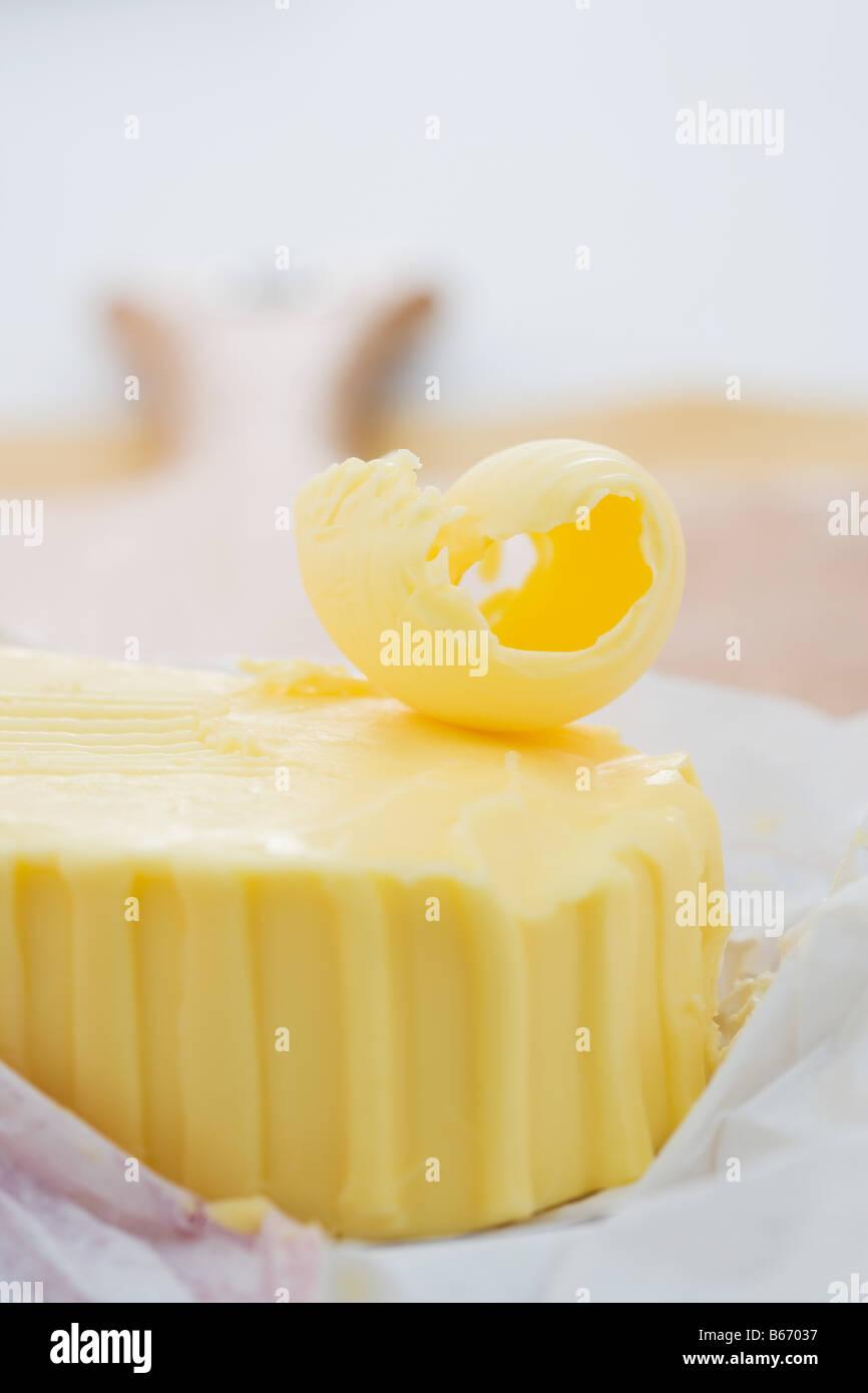 Un bloc de beurre Photo Stock