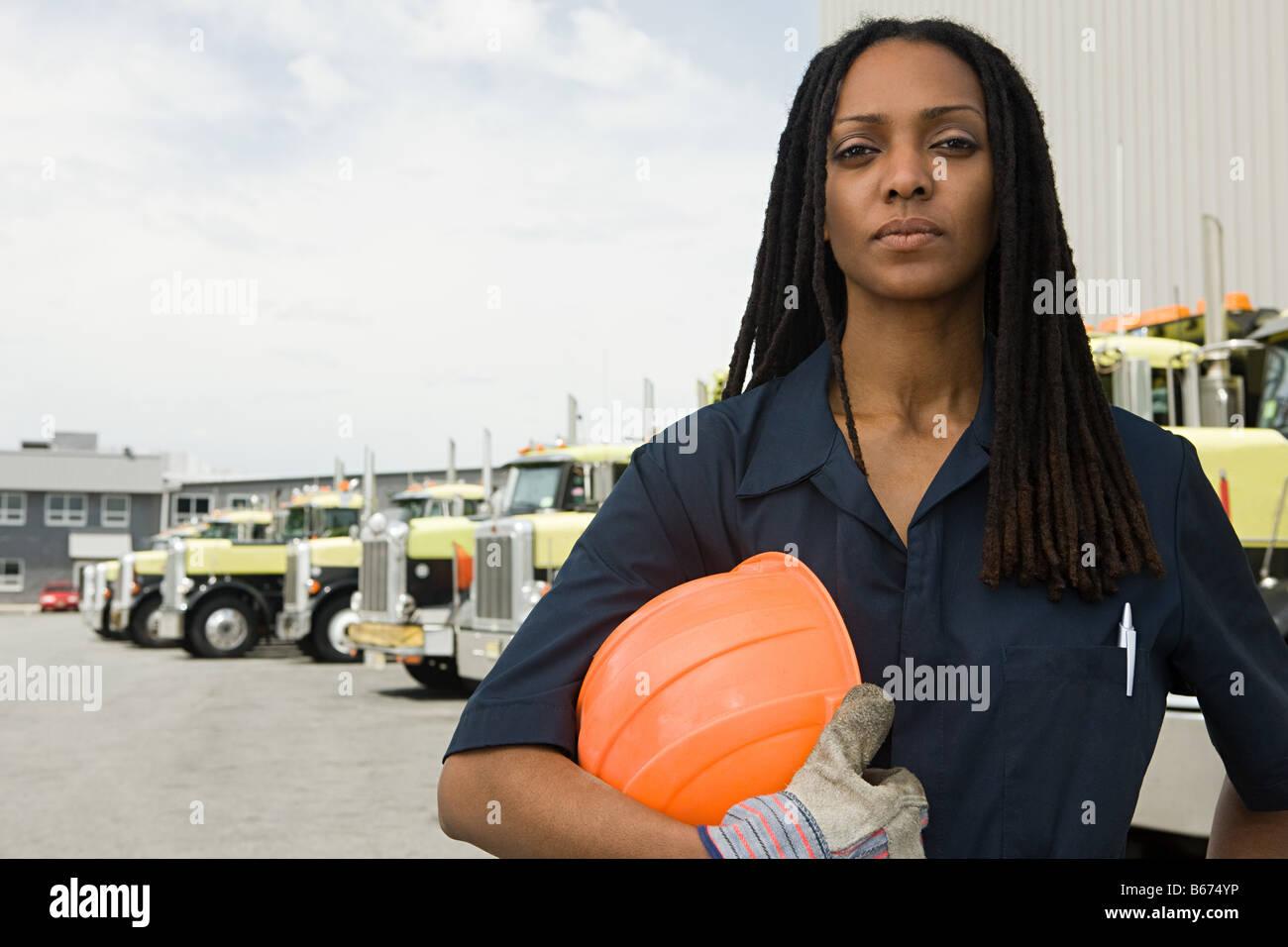 Camions par travailleur Banque D'Images