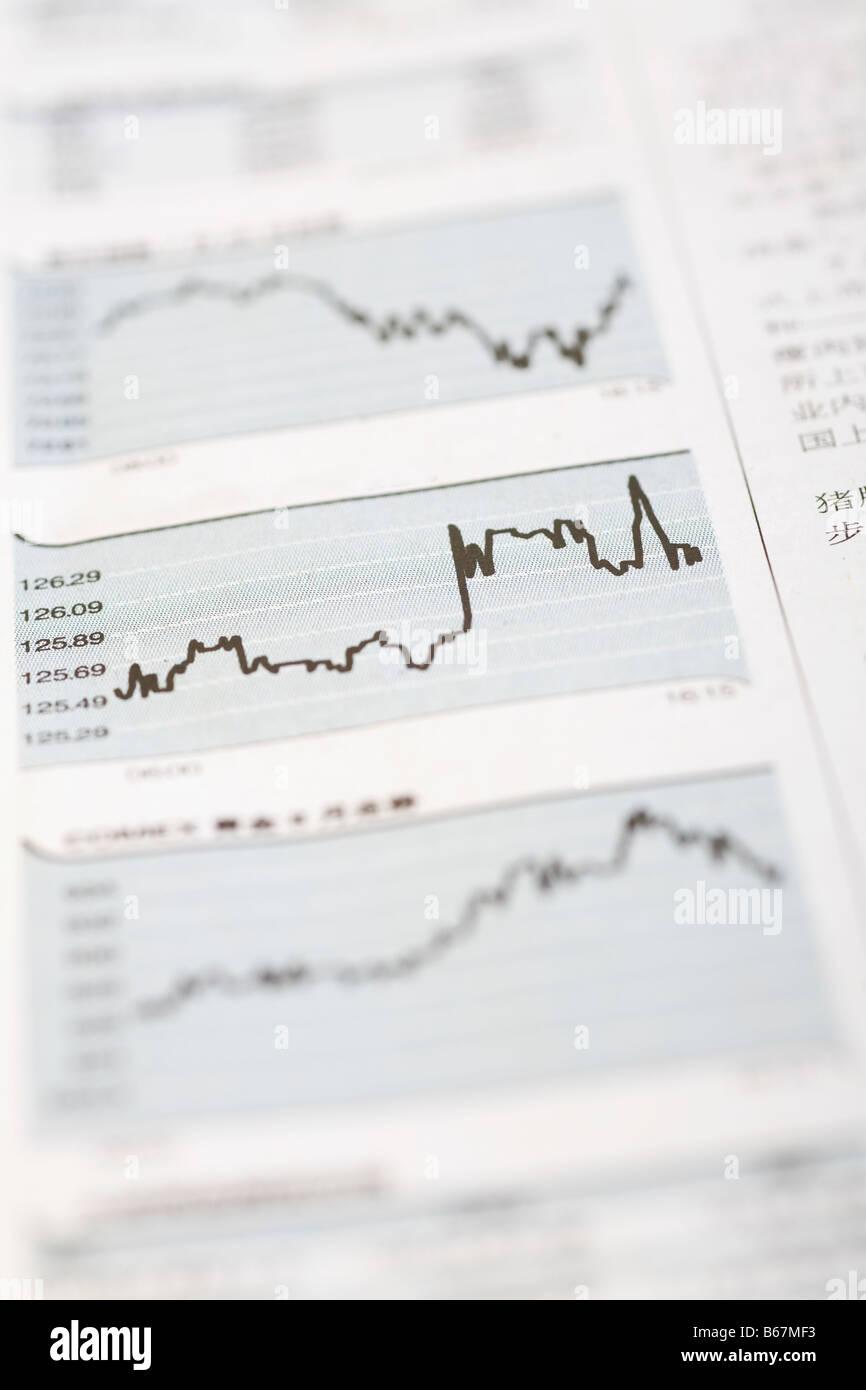 Close-up de courbes sur un rapport financier Photo Stock