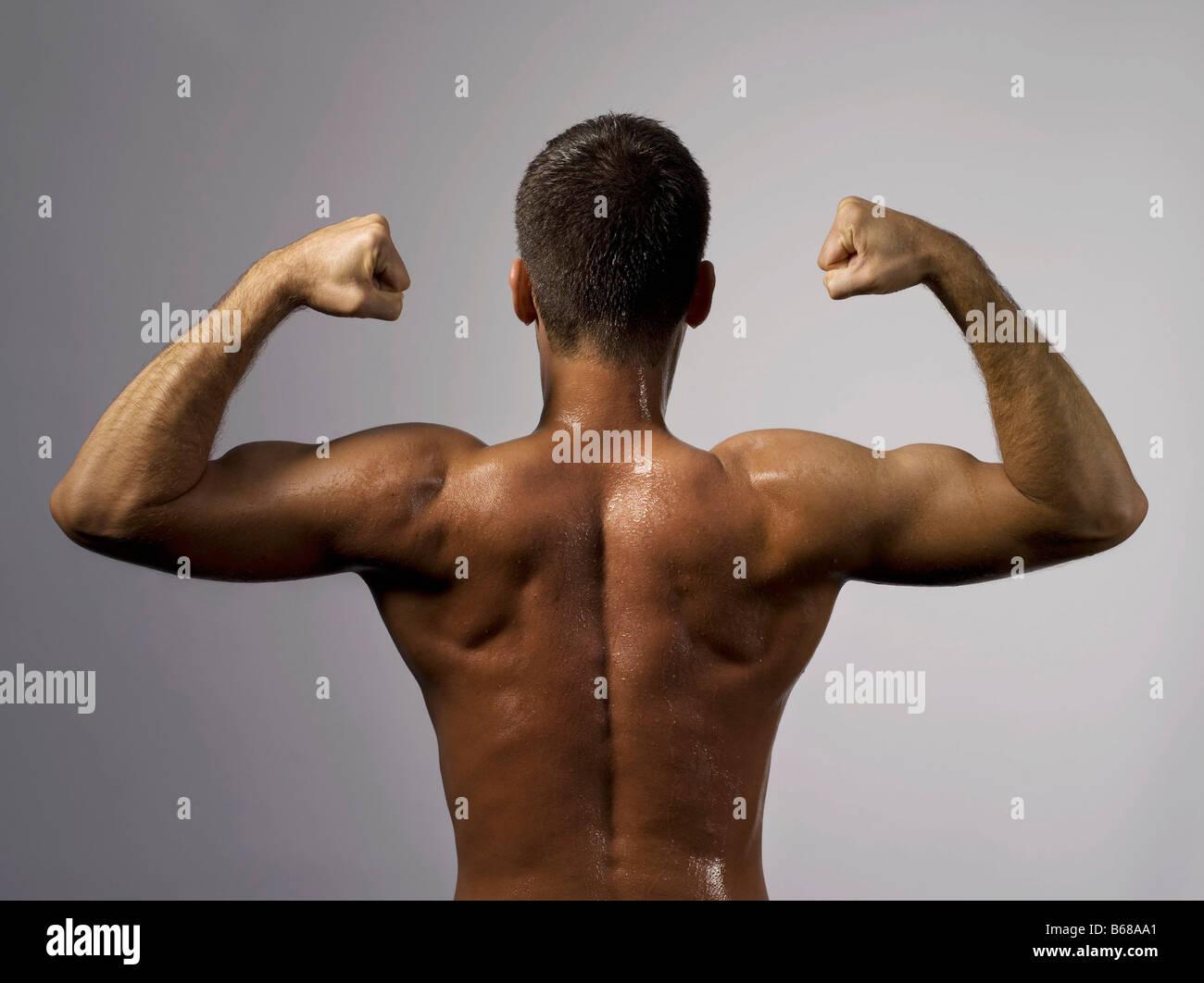 L'arrière d'un homme fort Photo Stock