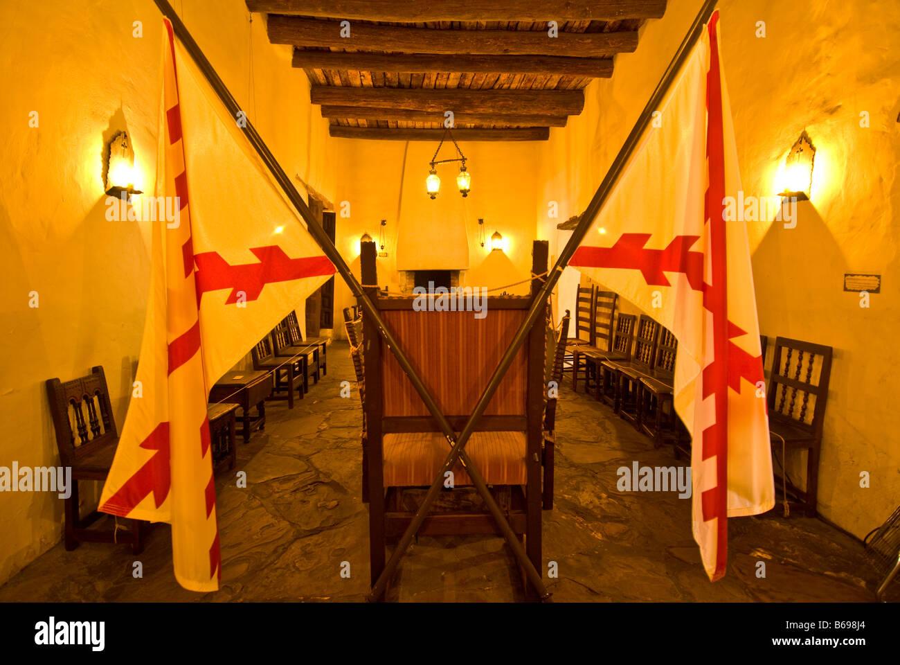 Palais Des Gouverneurs Espagnols Drapeaux Espagnols Salle à Manger Chaise  En Cuir San Antonio Texas TX Monument Historique
