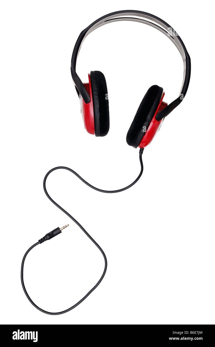 Écouteurs sur un fond blanc. Photo Stock