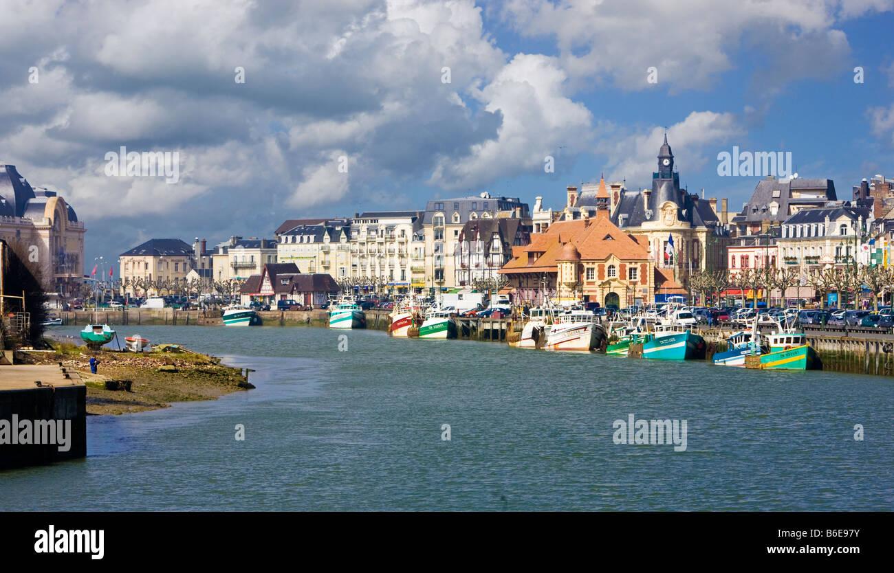 Trouville sur Mer et de la rivière Touques, Calvados, Normandie, France Photo Stock