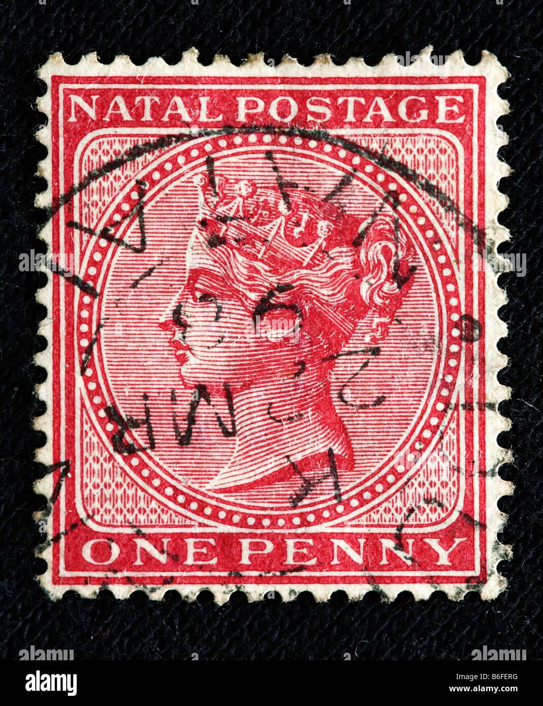 La reine Victoria du Royaume-Uni (1837-1901), timbre-poste, Natal Banque D'Images