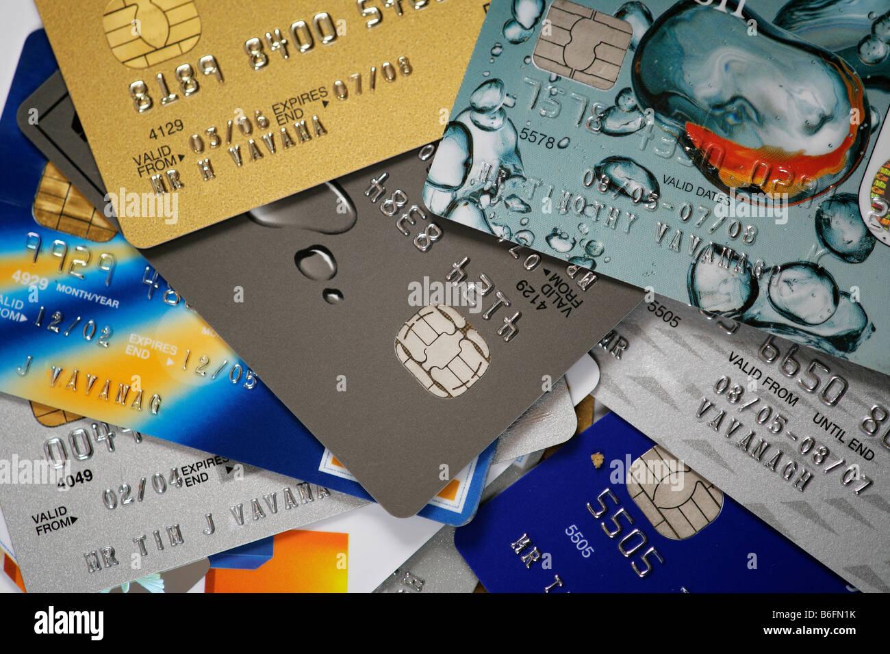 Une sélection de cartes de crédit Photo Stock