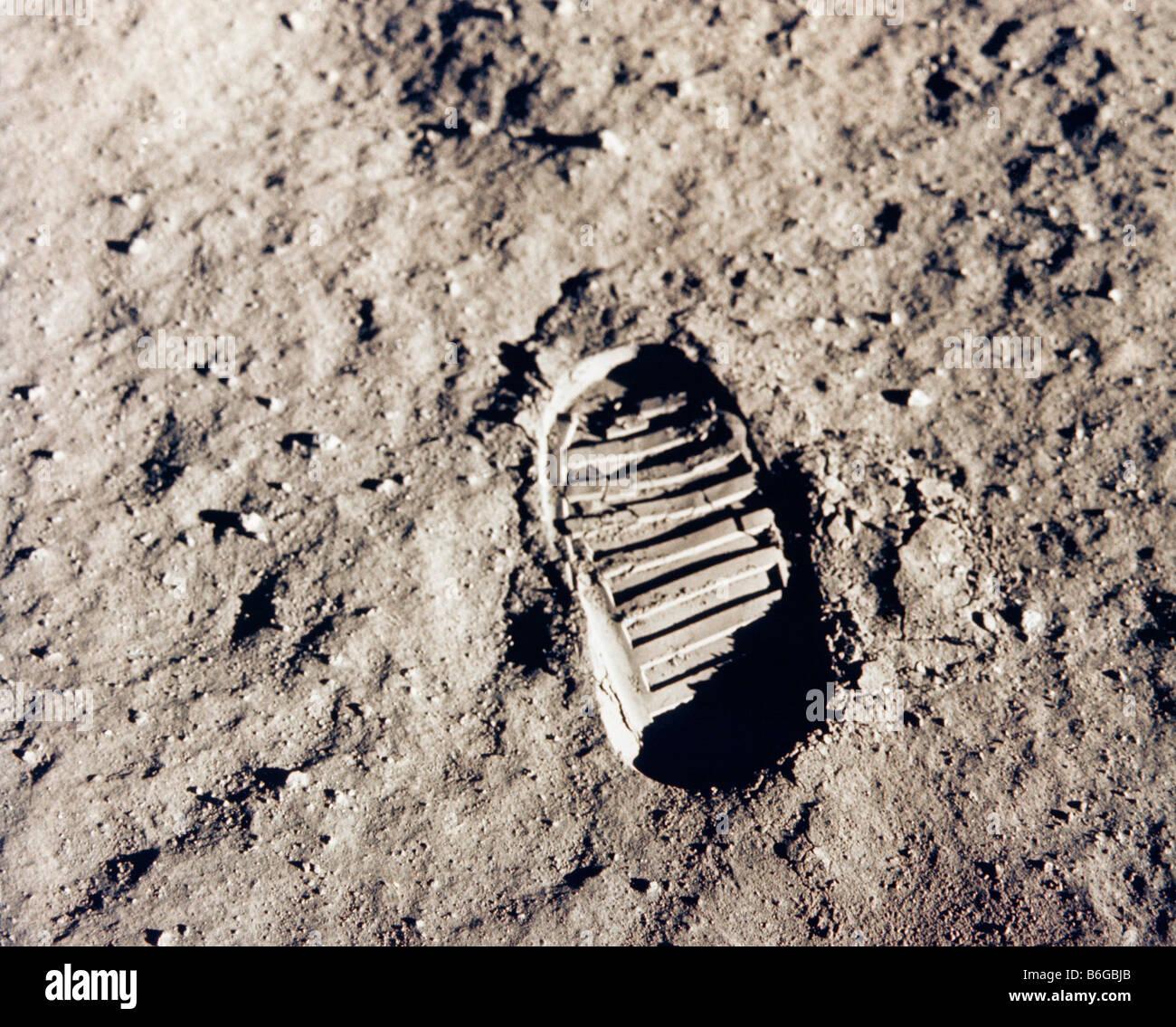 Empreinte d'astronautes sur la lune Photo Stock