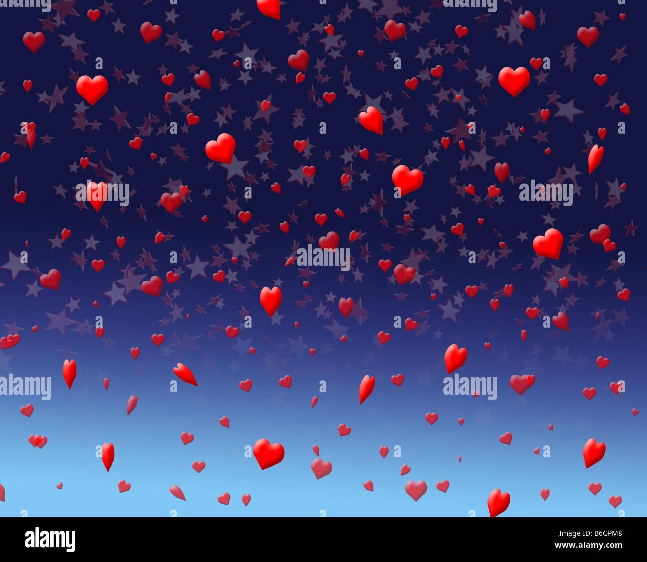 Illustration d'une célébration de nuit avec coeur et étoiles confettis Photo Stock