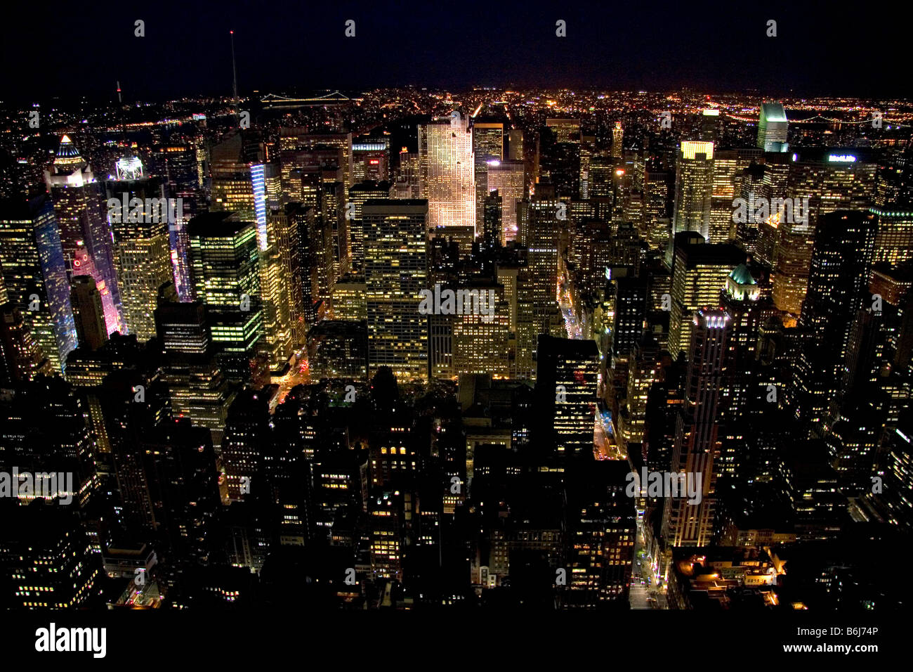 Vue de la nuit de New York New York USA Photo Stock