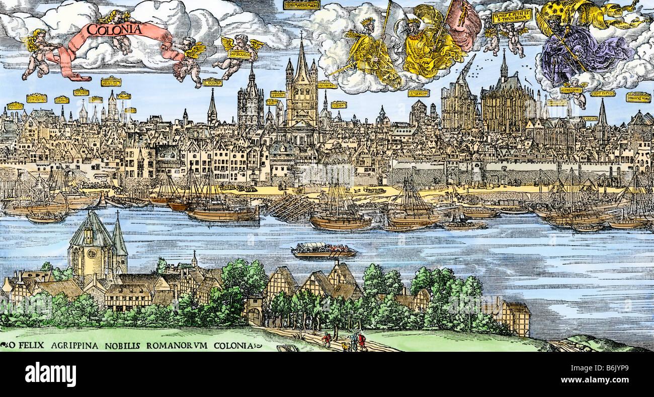 Ville de Cologne sur le Rhin au 16ème siècle. À la main, gravure sur bois Photo Stock