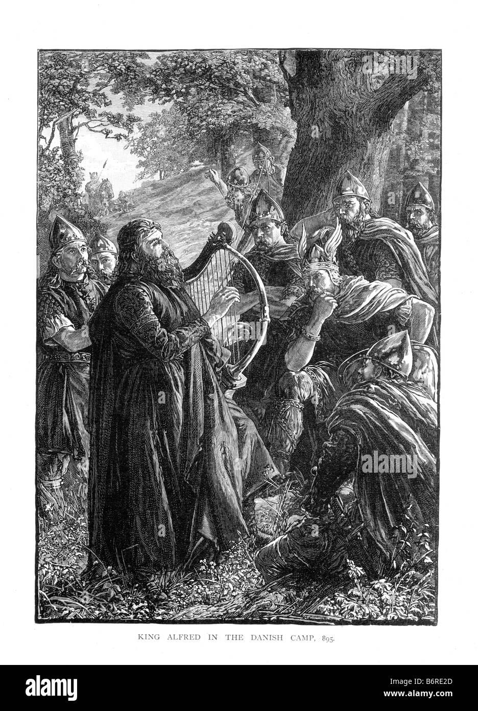 Le roi Alfred dans le camp danois du 19ème siècle AD 895 Illustration Photo Stock