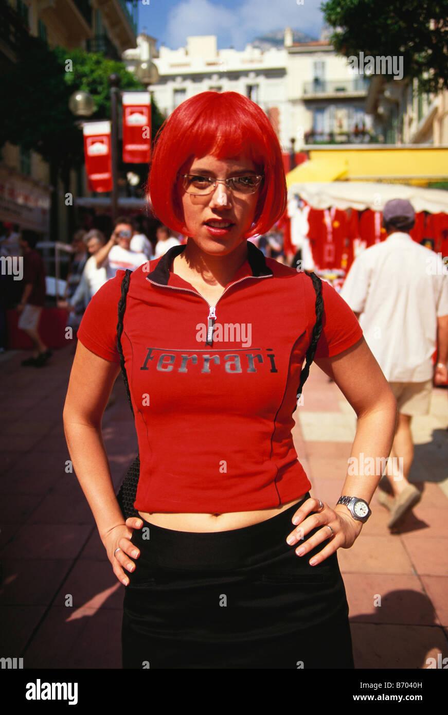 Fan de sport automobile féminin, Grand Prix de Formule 1, F1, Monte Carlo, Monaco, Europa Photo Stock