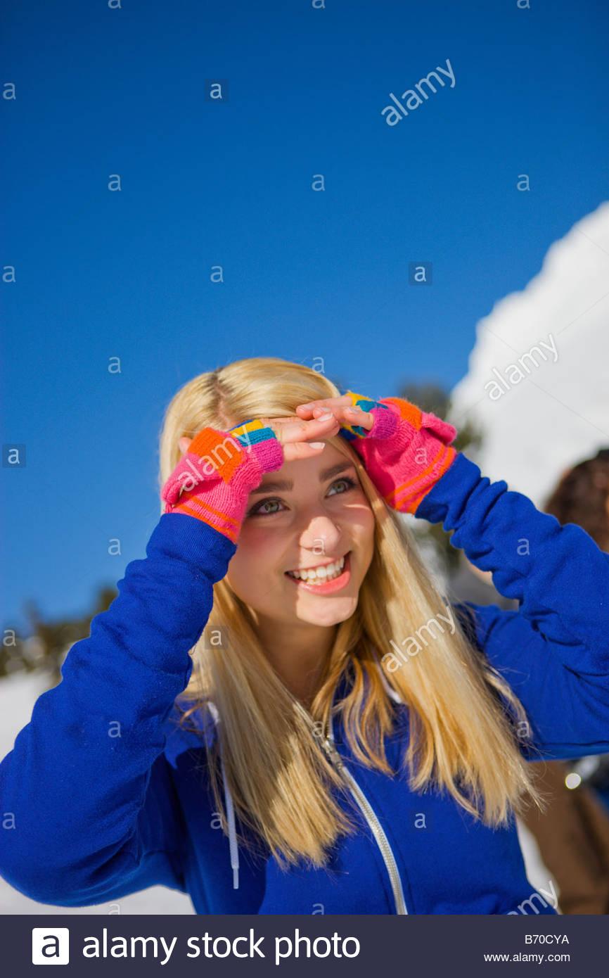 Une adolescente sur Mt. Hood, Oregon. Photo Stock