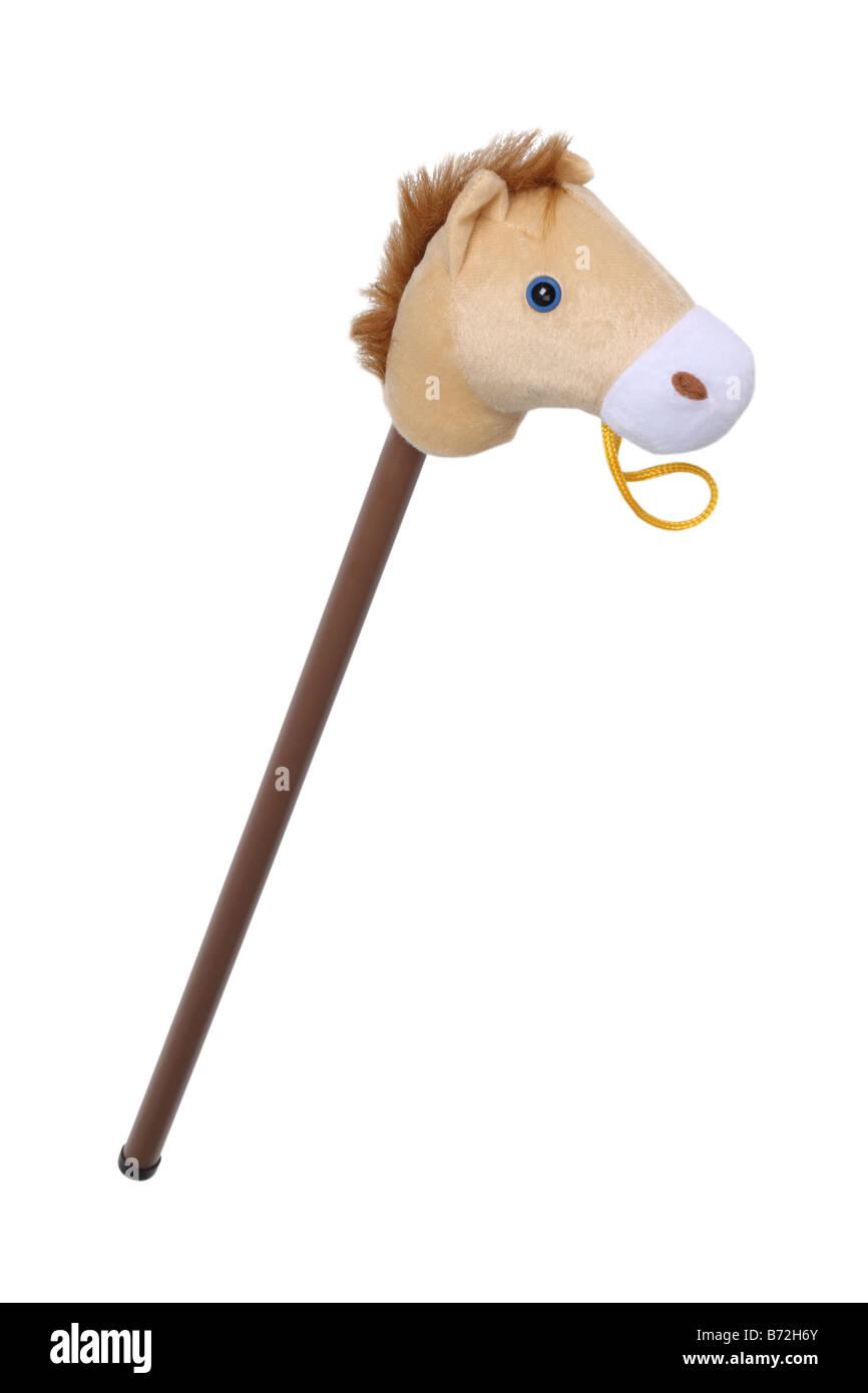 Jouet cheval bâton découper sur fond blanc Photo Stock