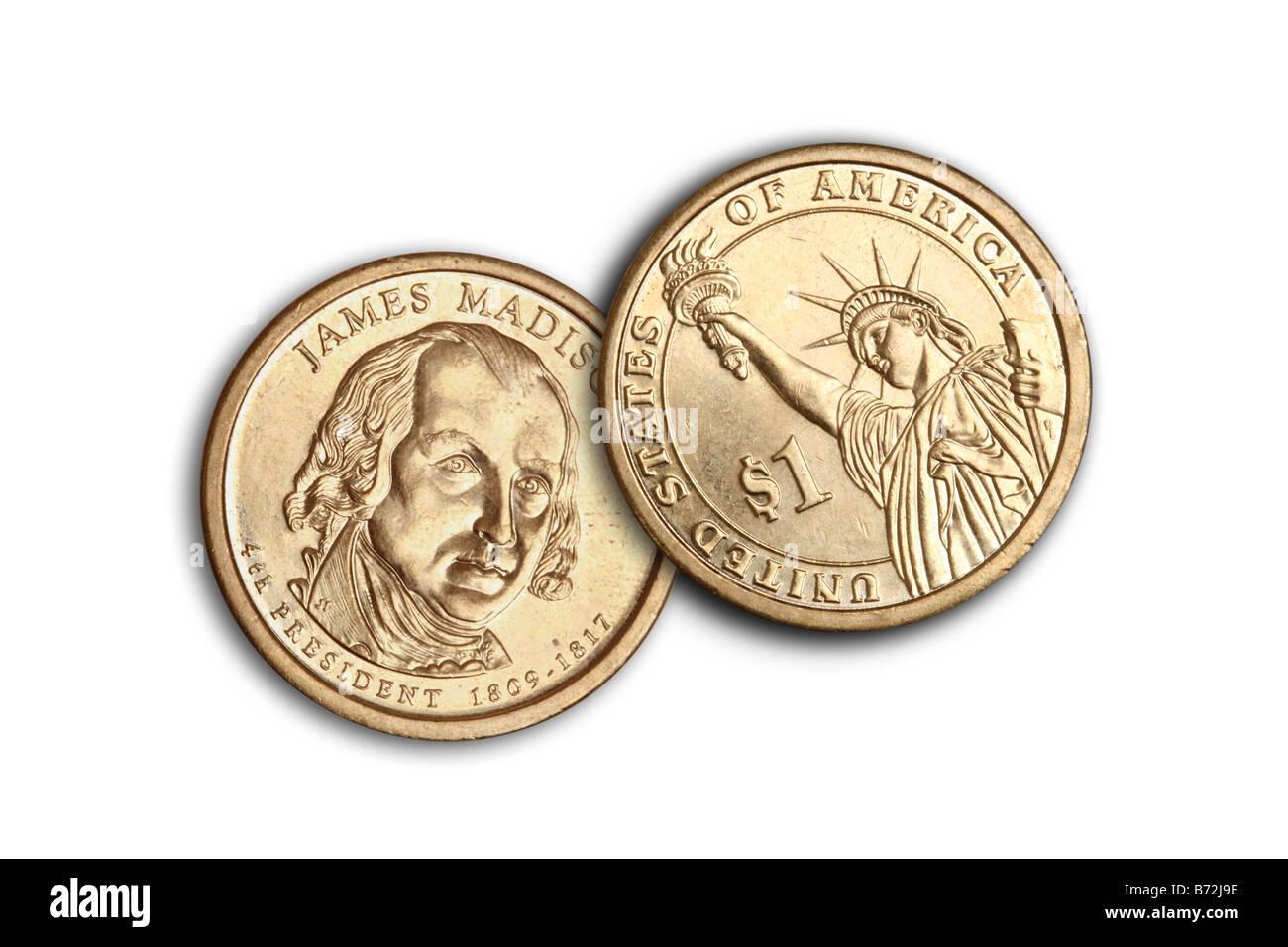 Un dollar US coins découpés sur fond blanc Photo Stock