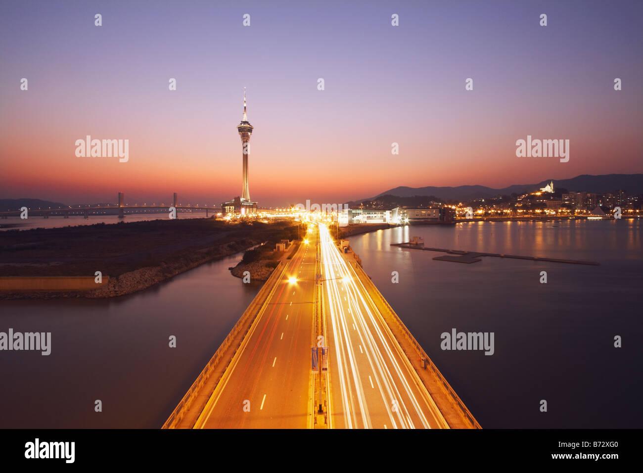 La Tour de Macau au coucher du soleil Photo Stock
