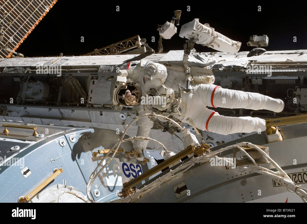 Rex Walheim des astronautes à la Station spatiale internationale le 15 février 2008 Photo Stock