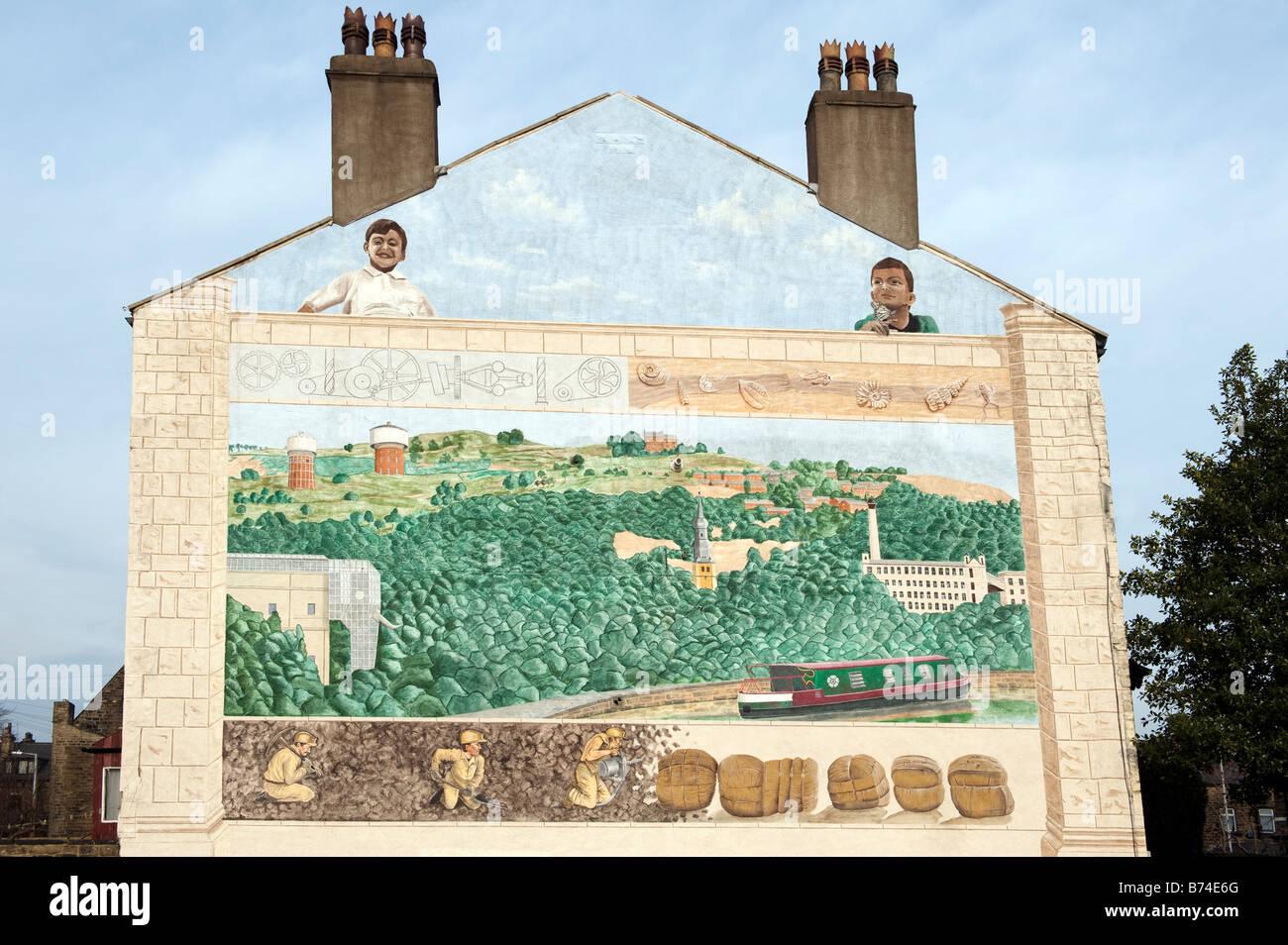 Peinture murale représentant l'industrie de la laine et de l'exploitation minière Photo Stock