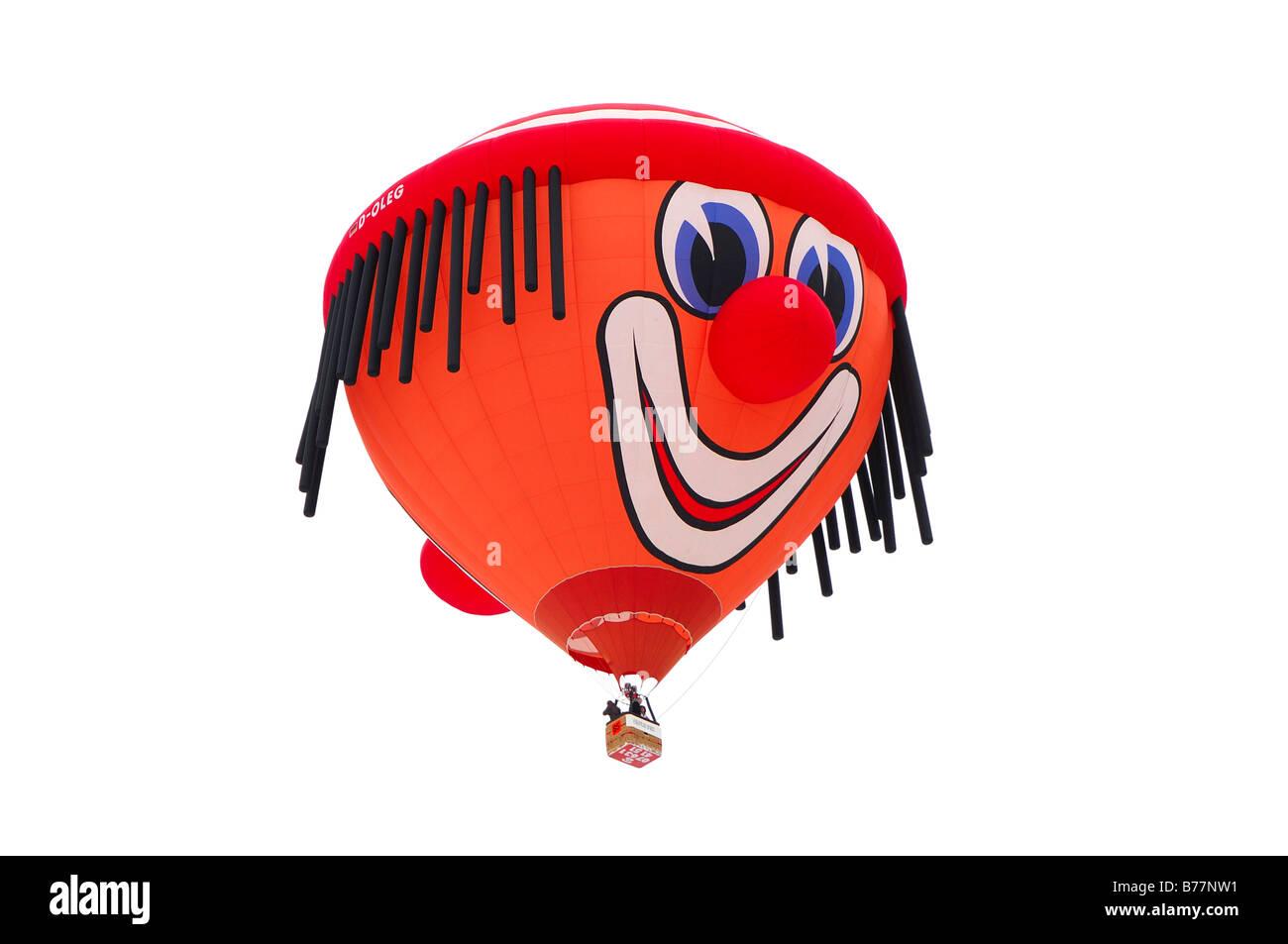 Ballon à air chaud en vol, clown, forme spéciale Schroeder fire balloons Clown SS, montgolfière, International Balloon Banque D'Images