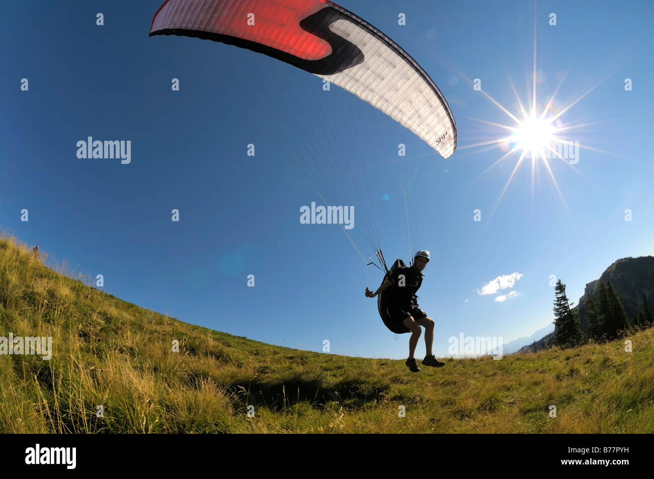 Décollage parapente, rétroéclairé, prise grand angle, Brauneck, Upper Bavaria, Germany, Europe Photo Stock