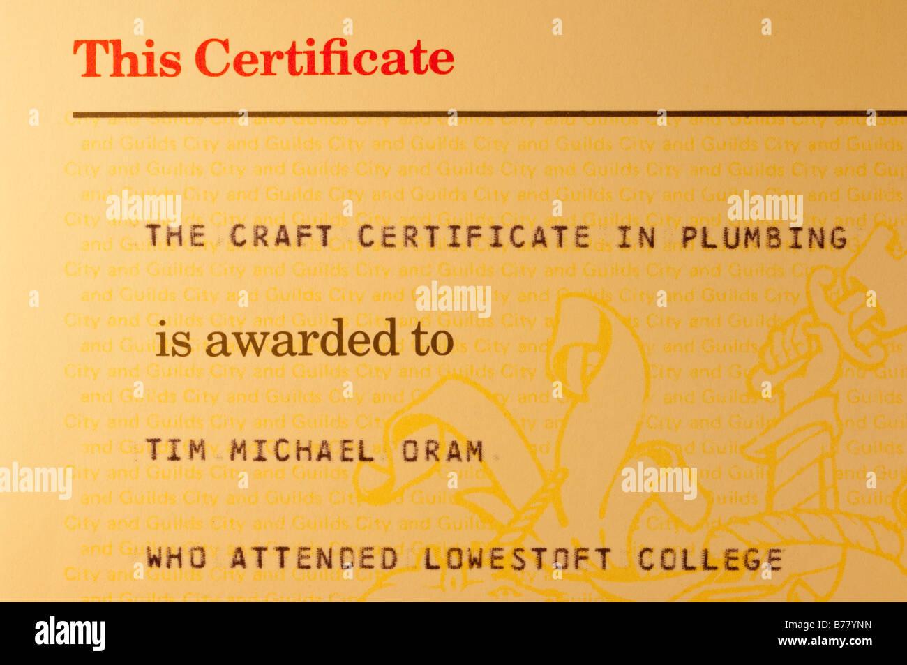 Le certificat d'artisanat en plomberie publié par City and Guilds of London Institute pour la réussite Photo Stock