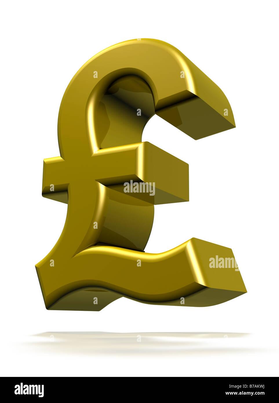 Symbole de la livre sterling de rendu 3D cgi Photo Stock
