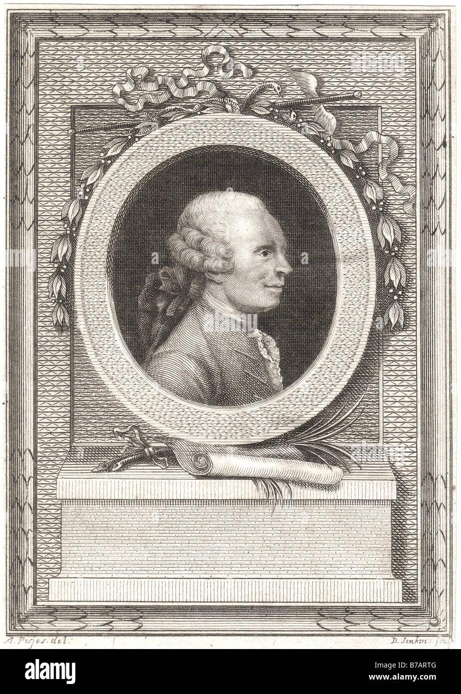 Jean Le Rond d'Alembert (16 novembre 1717 - Le 29 octobre 1783) était un mathématicien français, Photo Stock