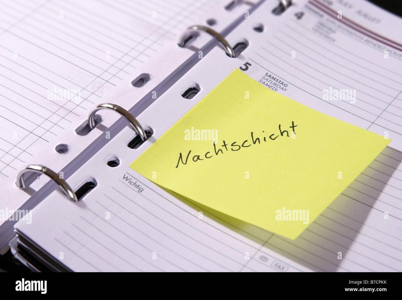 Carnet de rendez-vous 'Nachtschicht'; 'night shift', Allemagne Banque D'Images