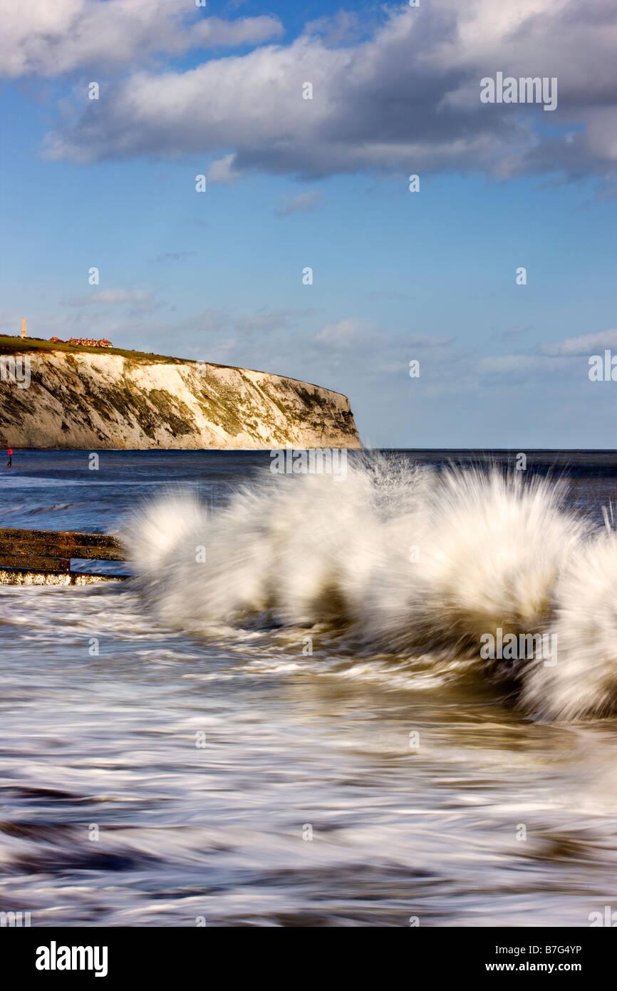 Mer forte à Sandown, Isle of Wight Photo Stock