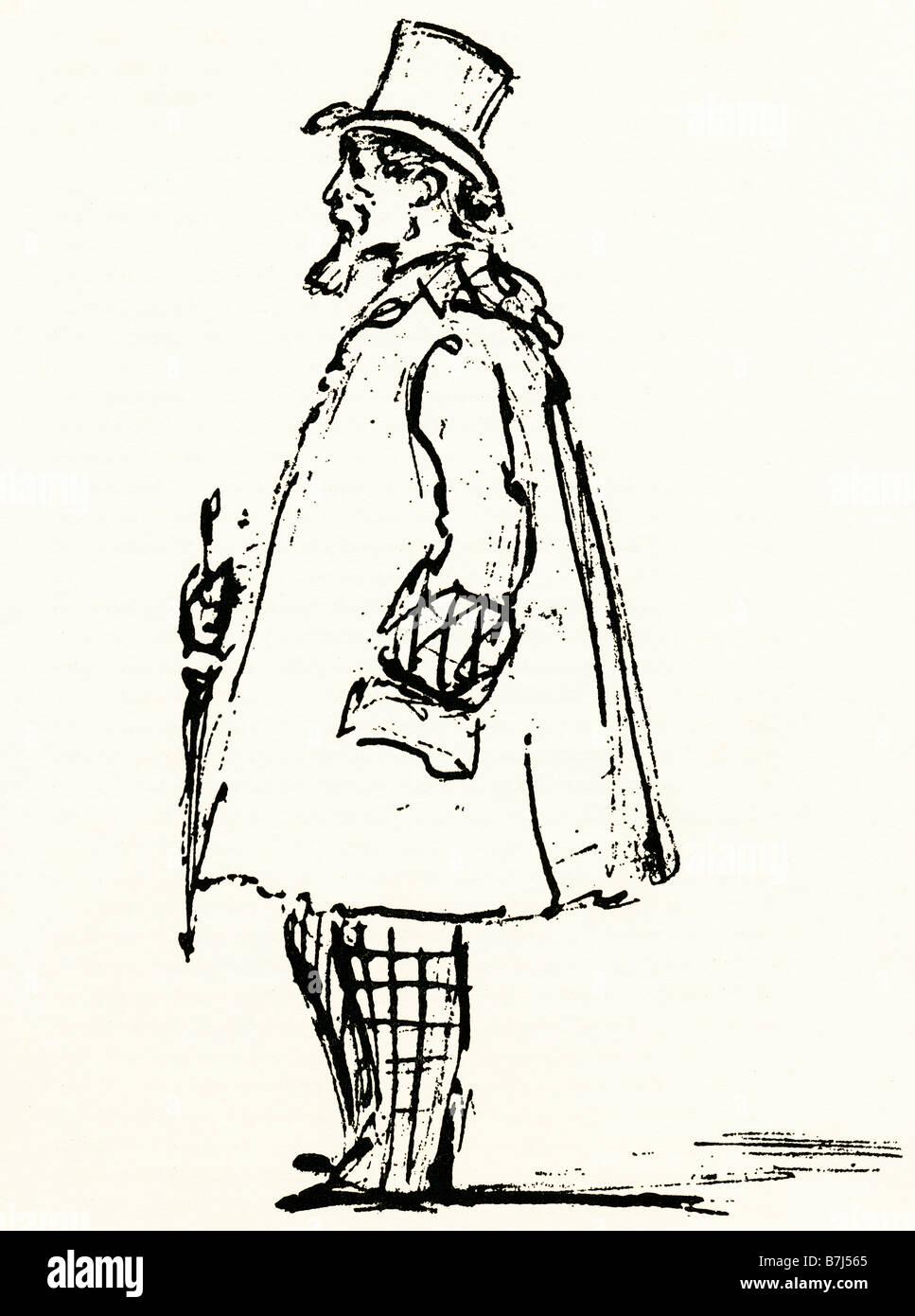 Charles Dickens par Spy 1870 Croquis du grand auteur de quatre mois avant sa mort par Leslie Ward Photo Stock