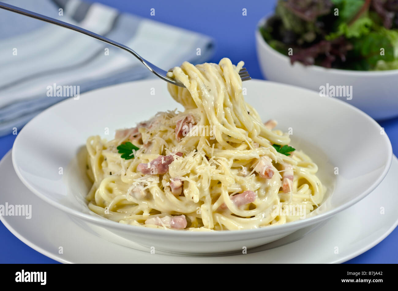 Cuisine italienne Spaghetti carbonara Photo Stock