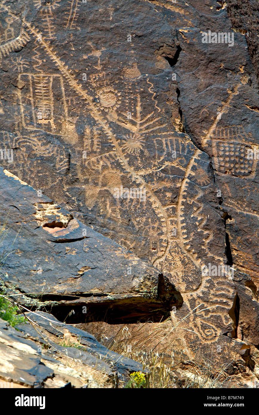 USA, Utah, Parowan Gap, des pétroglyphes, des œuvres de la préhistoire et du Sud cultures Paiute Fremont Banque D'Images