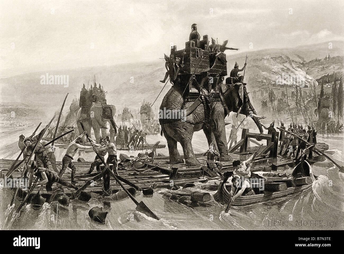 L'armée d'Hannibal traversant le Rhône en Gaule pour attaquer Rome par voie des Alpes 218 av. Photo Stock
