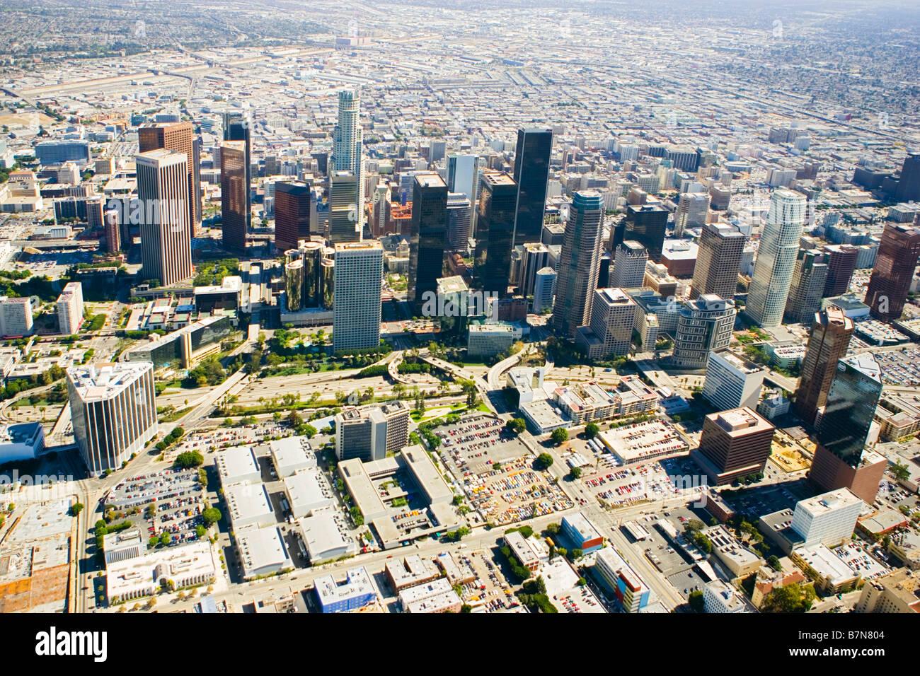 Le centre-ville de Los Angeles vue aérienne Photo Stock