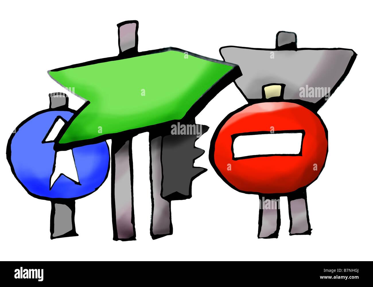 Découper illustration de panneaux de circulation Photo Stock