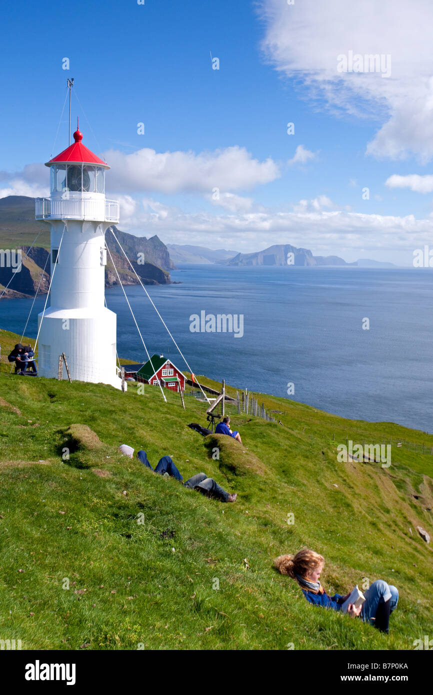 Les gens de l'île de Mykines, Faroe Islands Photo Stock